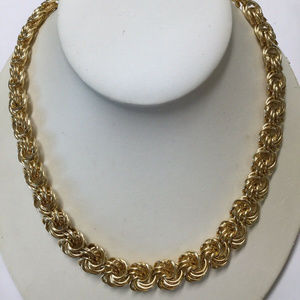 vtg Erwin Pearl heavy gold chain necklace brass